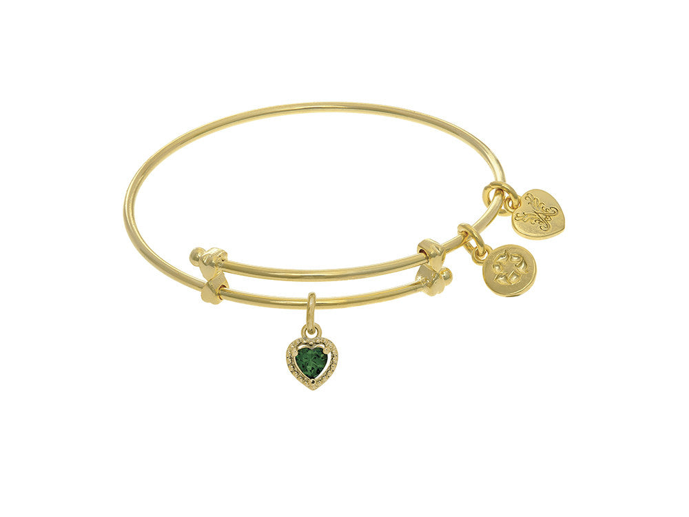 Angelica Collection Brass With Yellow Finish Charm May Heart Shape CZ Birth Month