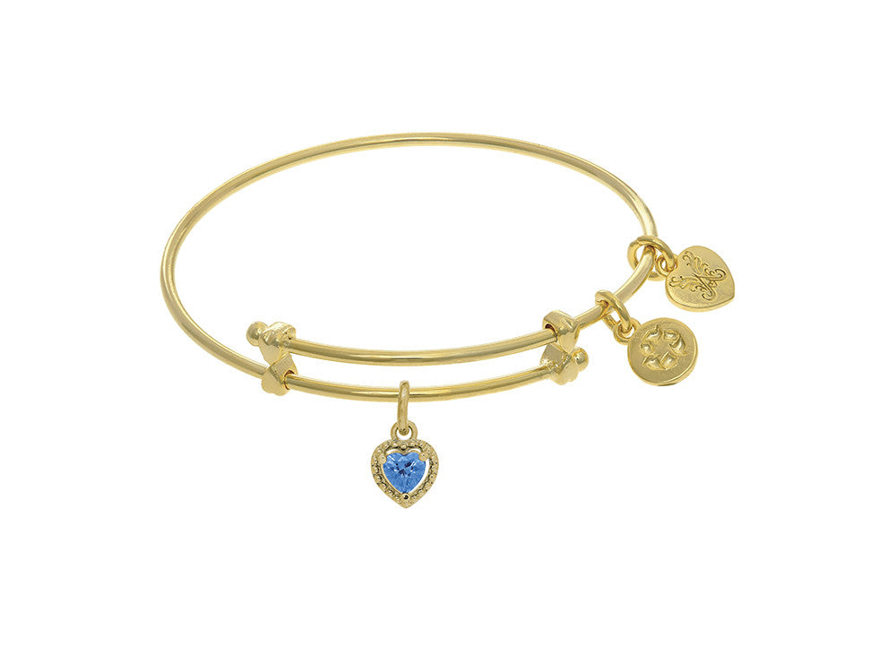 Angelica Collection Brass With Yellow Finish Charm December Heart Shap E CZ Birth Month