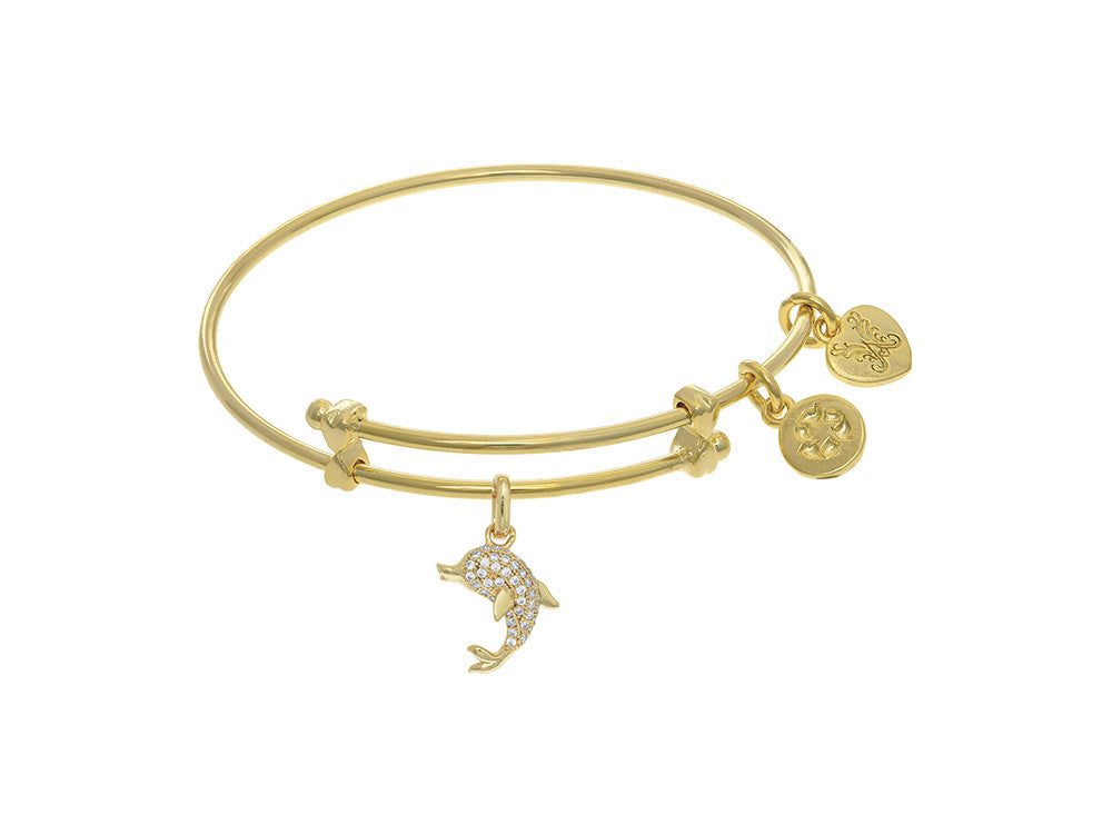 Brass With Yellow Finish Charm On Yellow Angelica Collection Tween Bangle