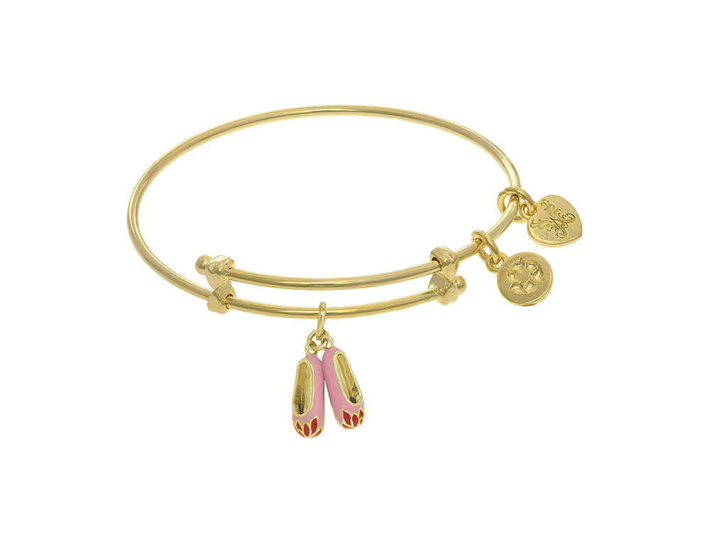 Angelica Collection Brass With Yellow Balerina Shoe Charm On Yellow An Gelica Bangle