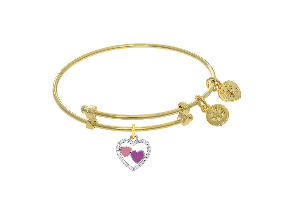 Brass With Yellow Finish Charm On Yellow Angelica Collection Tween Bangle (Small)
