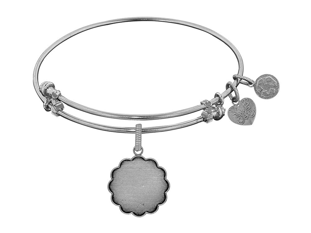Brass White Finish Personalize Engravable Charm On White Angelica Collection Bangle
