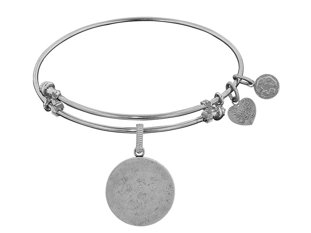 Brass White Finish Round Personalize Engravable Charm On White Angelica Collection Bangle