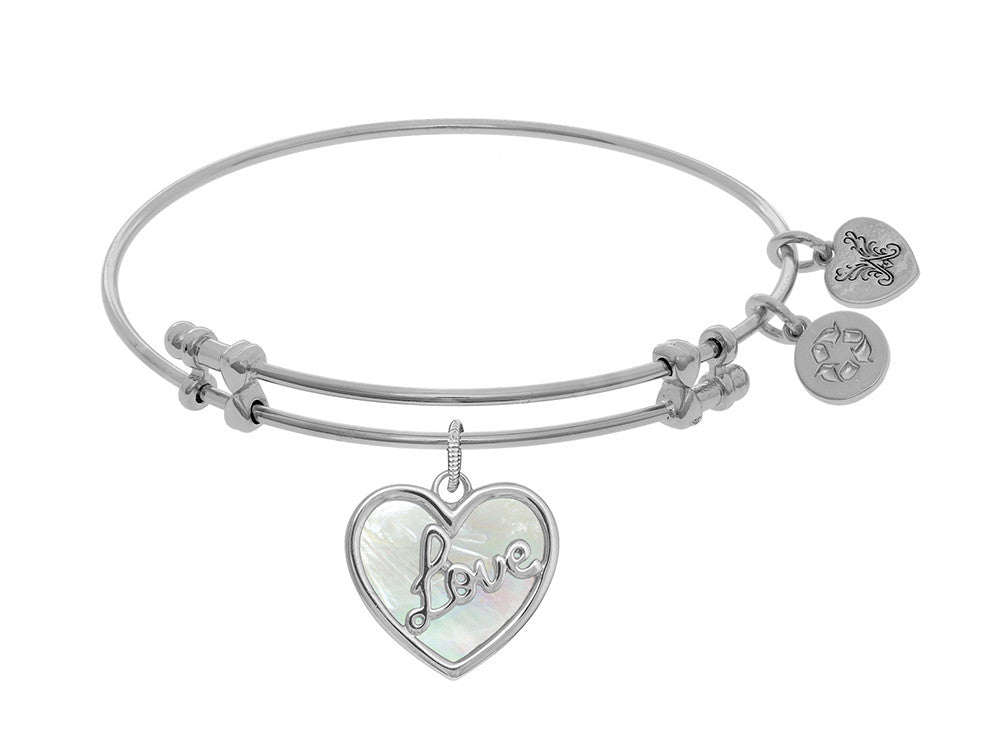 "Angelica Collection Brass With White ""love"" Heart Charm With Created Mother Of Pearl On White Bangle"
