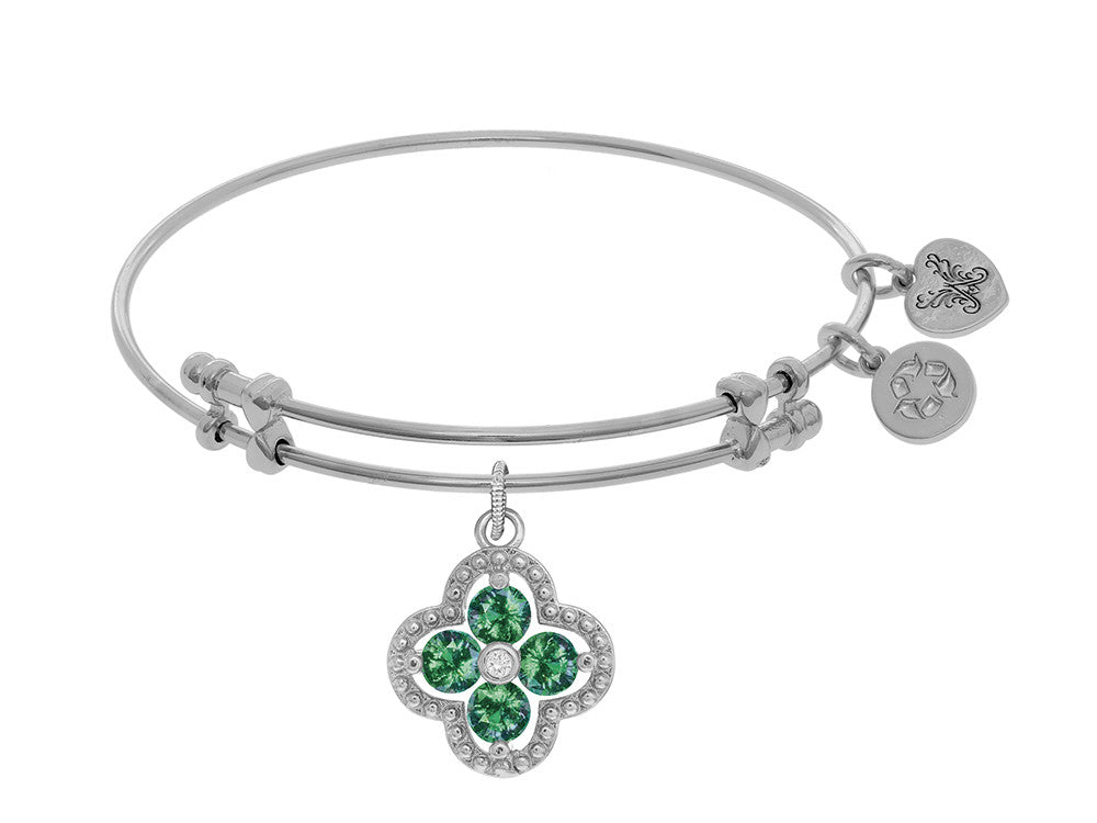 Angelica Collection Brass With White Charm With Green+center White CZ On White Bangle