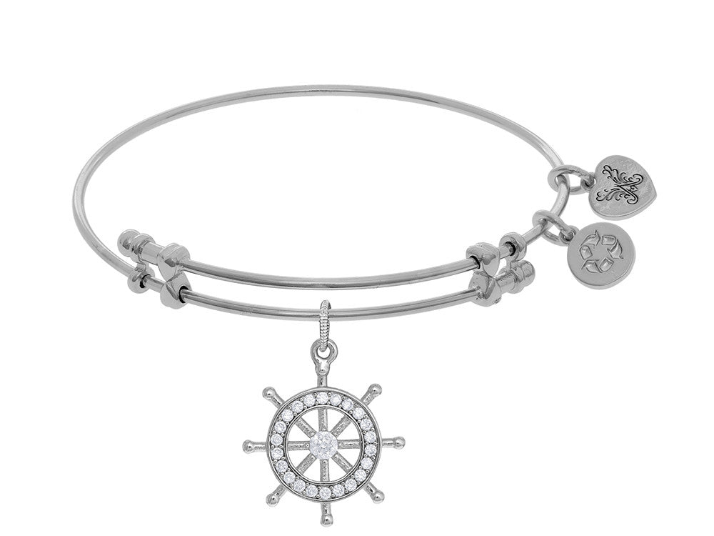 Angelica Collection Brass With White Ship's Steering Wheel Charm With White CZ On White Bangle