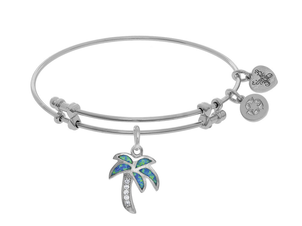 Angelica Collection Brass With White Created Opal Palm Tree Charm On W Hite Bangle