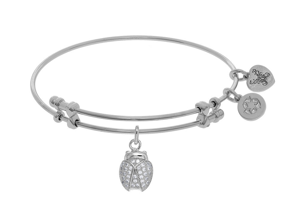 Brass With White Finish Charm With White CZ Ladybu G On White Angelica Collection Bangle