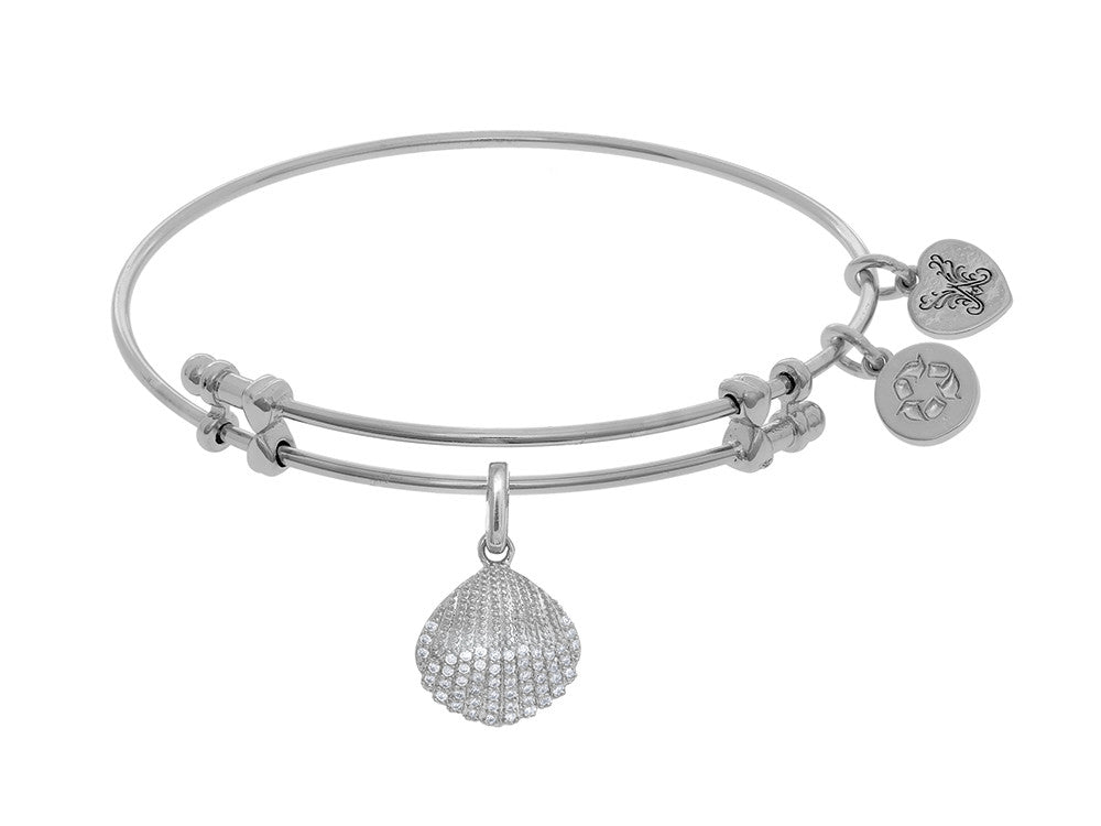 Brass With White Finish Charm With White CZ Sea Shell On White Angelica Collection Bangle