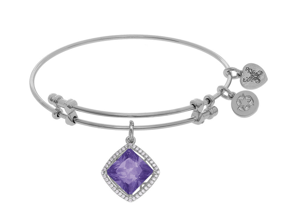 Brass With White Finish Charm With Purple+small White Cubic Zirconia On White Angelica Collection Bangle