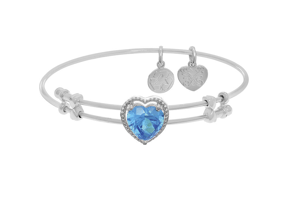 Brass With White Finish Heart Charm With Lite Blue CZ On White Angelica Collection Bangle