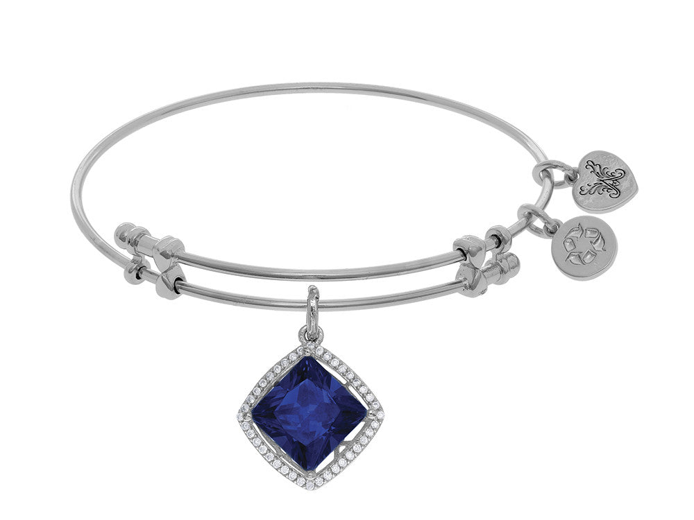 Brass With White Finish Charm With Dark Blue CZ On White Angelica Collection Bangle