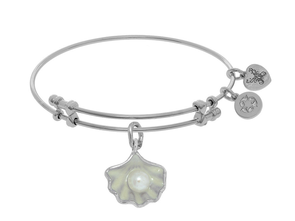 Brass With White Finish Charm With Enclosed Shell On White Angelica Collection Bangle