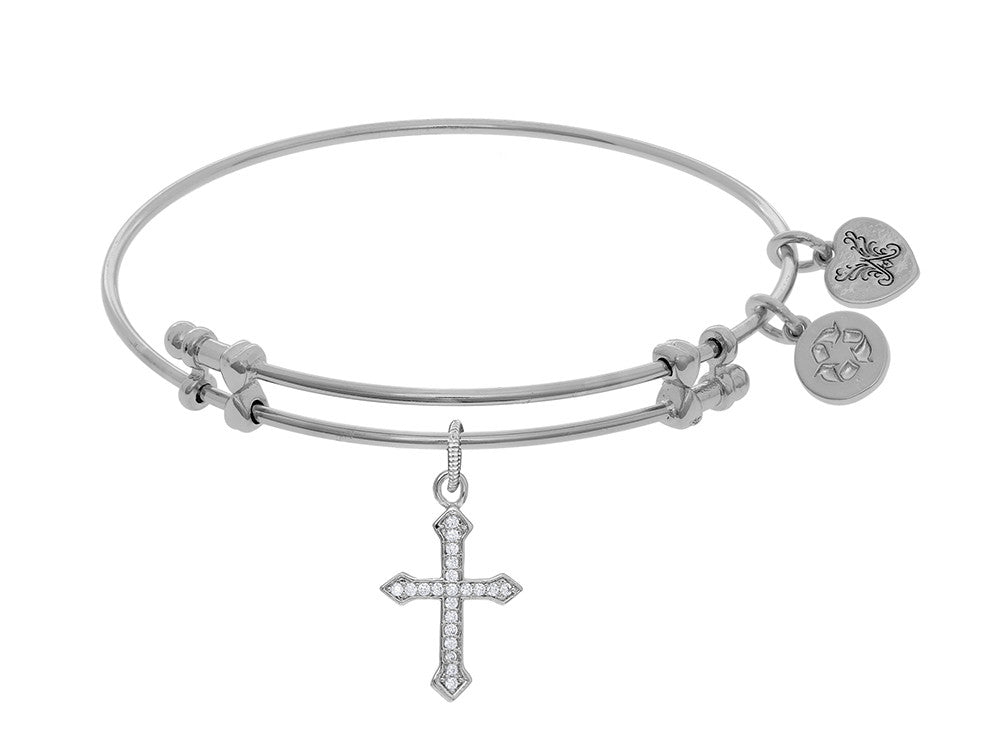 Brass With White Finish Cross Charm On White Angelica Collection Bangle