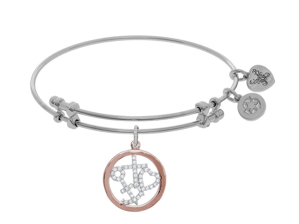Angelica Collection Brass Pink+white Ring Charm CZ Hope+faith+charity Theme On White Bangle