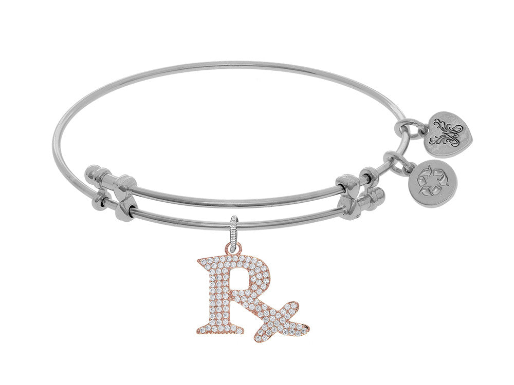 Brass With White Finish Rx Symbol Charm On White Angelica Collection Bangle