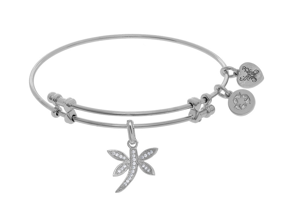 Brass With White Dragonfly Charm On WhiteAngelica Bangle