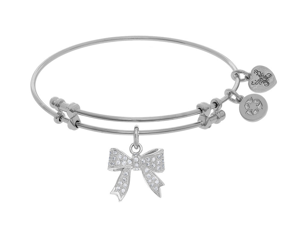 Brass With White Bow Charm With CZ On White Angelica Collection Bangle