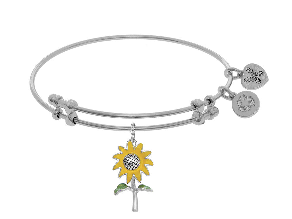 Brass With White Sunflower Enamel Charm On White Angelica Bangle