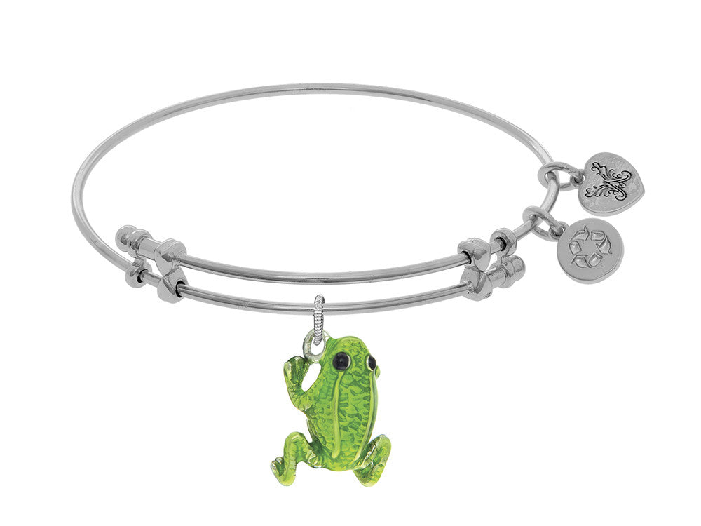 Brass With White Green Frog Enamel Charm On White Angelica Collection Bangle