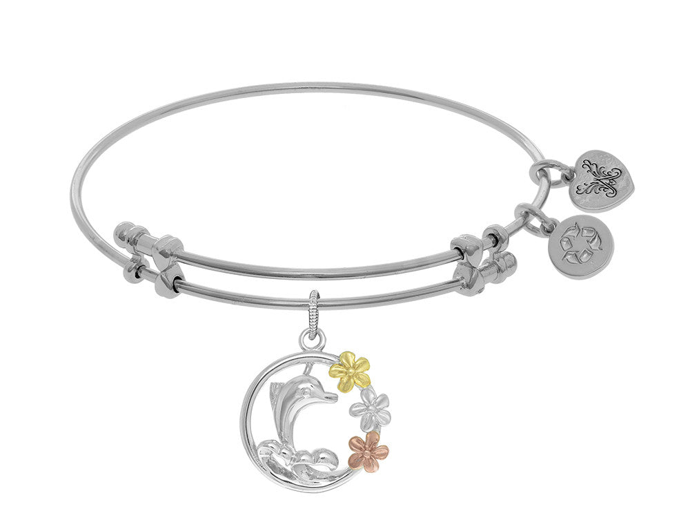 Brass With Pink+yellow+white Dolphin With Flowers Two Tone Charm On White Angelica Collection Bangle