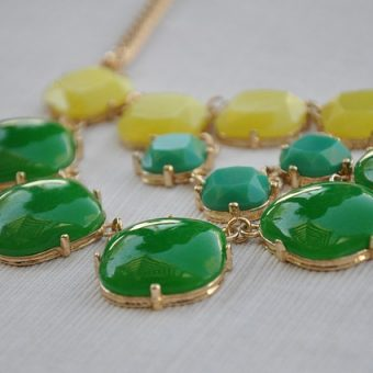 Necklace with green and yellow