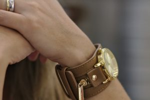 Girl-having-a-leather-watch