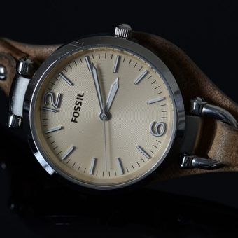 Vintage-brown-watch-on-a-black-background