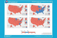 USA presidential elections map 1972-1984 HISTORIC POSTER educational 24X36