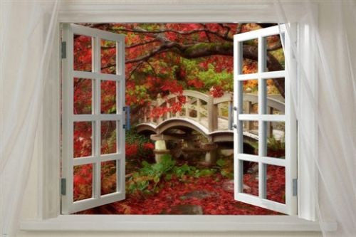 Window onto AUTUMN SPLENDOR scenic POSTER red leaves 24X36 FOOT bridge NEW!