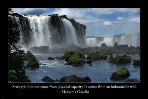 CHILEAN FALLS IMAGE with quote from Ghandi INSPIRATIONAL POSTER 24X36 truth