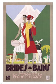 BRIDES LES BAINS vintage ad poster TENNIS GOLF SPORTS prized new 24X36