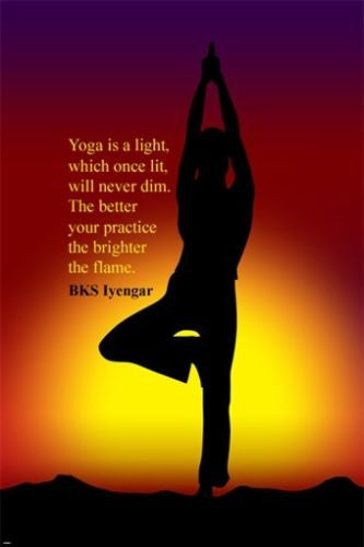 tree yoga pose INSPIRATIONAL QUOTE POSTER by  BK IYENGAR 24X36 hot NEW!