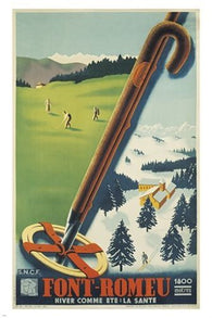 FONT-ROMEU FRANCE vintage travel poster SKIING GOLF SPORTS exceptional 24X36