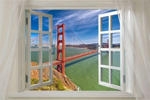 WINDOW to GOLDEN GATE BRIDGE scenic poster LANDMARK 24X36 sky sea beauty