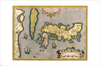 antique MAPS of the WORLD - JAPAN poster ABRAHAM ORTELIUS cartography 24X36