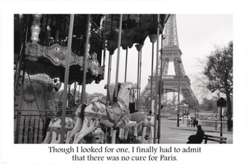 BEAUTIFUL PARIS NOSTALGIA Carousel & Quote Poster 24X36 Eiffel Tower