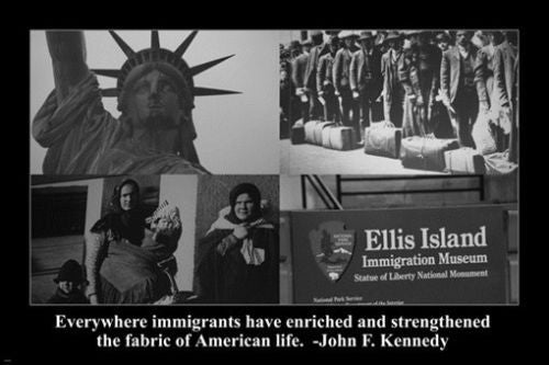 ELLIS ISLAND motivational POSTER JFK quote 24X36 US immigration SYMBOLIC
