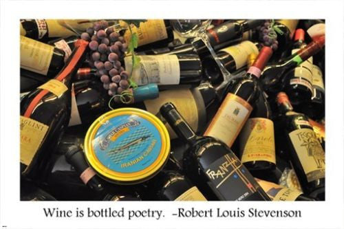 WINE BOTTLES inspirational poster r. louis STEVENSON quote 24X36 poetic