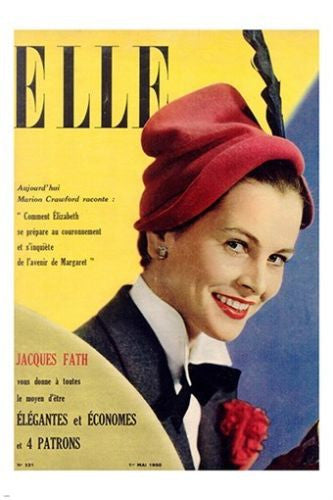 1950 vintage ELLE MAGAZINE COVER with young QUEEN ELIZABETH rare style 24X36
