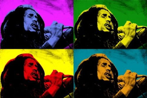 BOB MARLEY celebrity singer POP ART POSTER multiple images COLORFUL 24X36