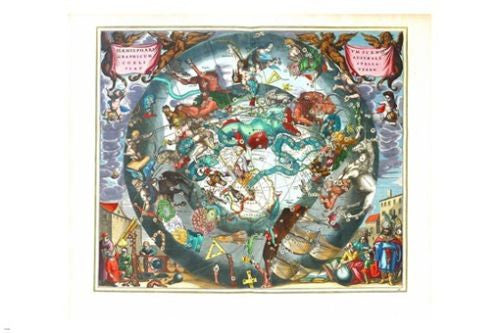 celestial HARMONIA macrocosmica of ANDREAS CELLARIUS old world plate 24X36