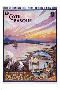 cote basque VINTAGE TRAIN TRAVEL poster SWIMMING SAILING collectors 24X36