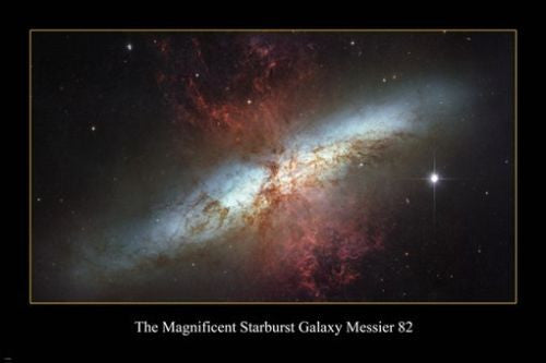 The magnificent starburst galaxy messier 82 HUBBLE SPACE IMAGE POSTER 24X36
