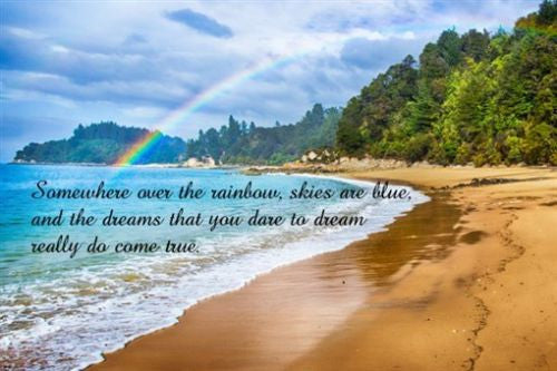 RAINBOW OVER TROPICAL BEACH Inspirational poster QUOTE ABOUT DREAMS 24X36