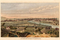 1756 A VIEW OF THE CITY OF PARIS map landscape rivers buildings 24X36