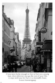 another Parisian side street HEMMINGWAY quote 24X36 INSPIRATIONAL poster
