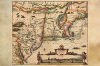 1655 MAP OF NEW ENGLAND ST. LAWRENCE RIVER TO THE NORTH poster DETAIL 24X36