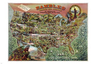 1890 VINTAGE geographical game for youth EDUCATIONAL POSTER 24X36 collectors