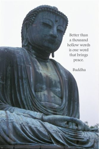 INSPIRATIONAL BUDDHA POSTER QUOTE 24X36 hollow words thoughtful serene